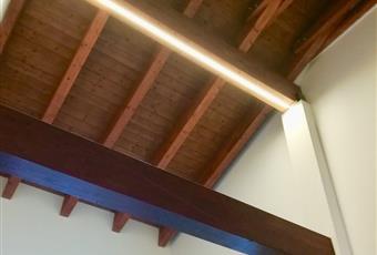 Salone luminosissimo sia di giorno che di sera con illuminazione a led sulle travi in legno a vista Collegato ad un balcone profondo, abitabile Emilia-Romagna BO Bologna