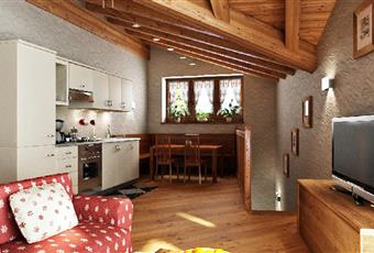 Il pavimento è di parquet, il salone è con travi a vista Valle d'Aosta AO Morgex