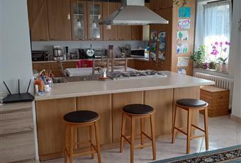 Il salone è openspace, il pavimento è piastrellato e la penisola è tra salone e cucina, molta luce da est Veneto BL Domegge di Cadore