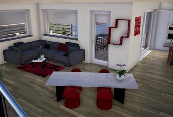 Il pavimento è di parquet, ampia zona living con accesso al piano superiore mediante scala interna a vista Piemonte CN Vignolo