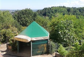 Gazebo nel giardino con illuminazione elettrica: l'ideale per pranzi e cene nella bella stagione. Piemonte AT Rocca D'arazzo