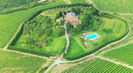 Villa panoramica con grande giardino ed infinity pool, immersa nei vigneti e con spettacolare panorama a 360° su Orvieto e sul suo Duomo.