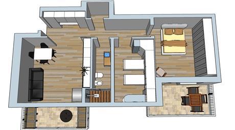 Appartamento luminosissimo,palazzina completamente ristrutturata ,essendo un rettangolo è fattiva qualunque soluzione, si possono ottenere 2 camere letto salone angolo cottura, bagno finestrato, ripostiglio.Possibile mostrare render per eventuali ridistribuzione degli spazi